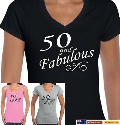 Funny 50th Birthday T Shirts Fifty And Fabulous 1969 Shirt Tee Sizes Party New