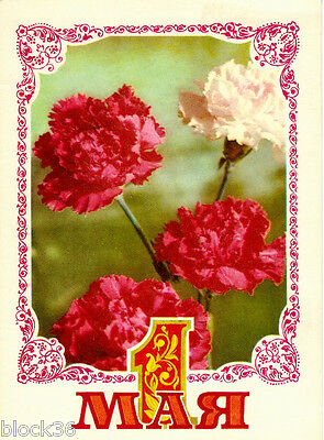 1975 Soviet Russian postcard MAY 1  Red and white carnations