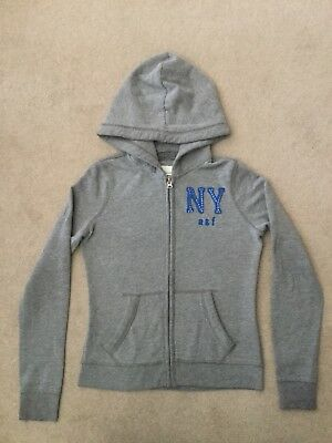 Abercrombie & Fitch Hoodie Size 'medium Kids' Light Grey With Logo No Reserve