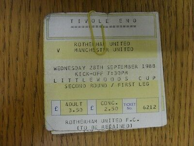 28/09/1988 Ticket: Rotherham United v Manchester United [Football League Cup] Ti
