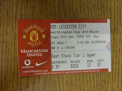 05/11/2002 Ticket: Manchester United v Leicester City [Football League Cup] (lig