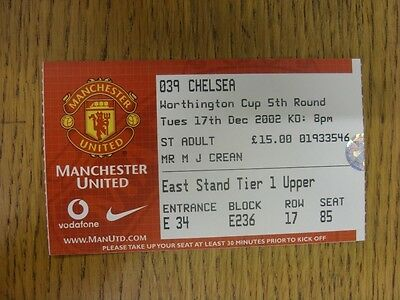 17/12/2002 Ticket: Manchester United v Chelsea [Football League Cup] . Thanks fo