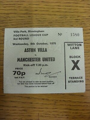 08/10/1975 Ticket: Aston Villa v Manchester United [Football League Cup] (folded