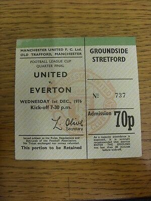 01/12/1976 Ticket: Manchester United v Everton [Football League Cup] (folded). T