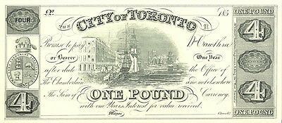 City of Toronto Banknote CBNC Proof Print 4 Dollars 1 Pound UNC