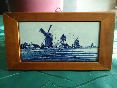 Original Holland Fliese delft als Wandbild gerahmt antik