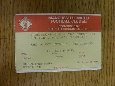 10/10/1990 Ticket: Manchester United v Halifax Town [Football League Cup] (folde