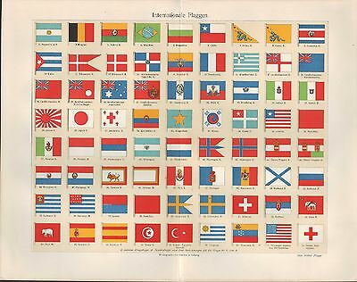 Chromo-Lithografie 1898: Internationale FLAGGEN. Handels-Landes-Kriegs-Flagge