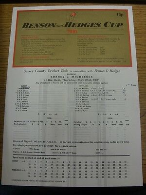 21/05/1981 Cricket Scorecard: Surrey v Middlesex [At The Oval] 1 Day Match - Ben