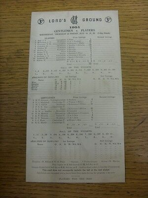 18/07/1951 Cricket Scorecard: Gentlemen v Players [At Lords] 3 Day Match (scores