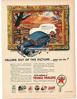 1945 Texaco Car Falling Out Of Picture Frame Art Vintage Print Ad