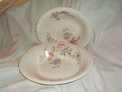 2 Edwin M. Knowles Pink & Blue Flowers Oval Serving Vegetable Bowls