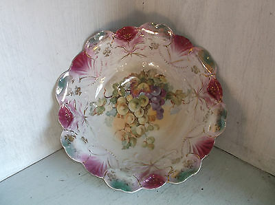 Vintage Grapes Pink & Green Serving Vegetable Bowl Unmarked