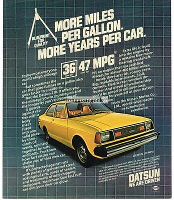 1981 DATSUN 210 Yellow 2-door Coupe Vtg Print Ad