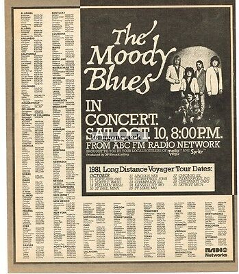1981 THE MOODY BLUES ABC FM Radio Concert Vtg Promo Print Ad with tour dates