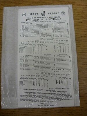 22/06/1989 Cricket Scorecard: England v Australia [At Lords] 5 Day Match (scores