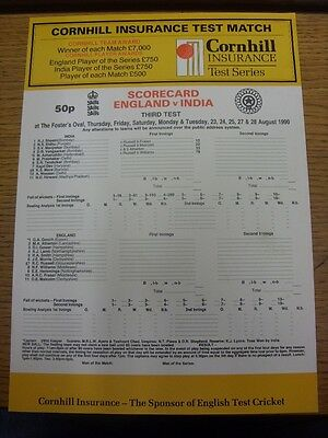 23/08/1990 Cricket Scorecard: England v India [At The Oval] 5 Day Match (scores
