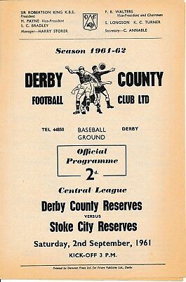 Derby Reserves v Stoke City (Central League) 1961/2