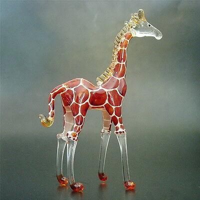 TALL Glass GIRAFFE Brown Hand Painted Glass Animal Glass Ornament Curio Gift