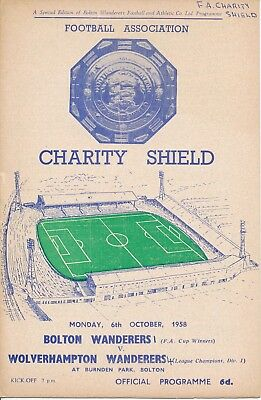 FA CHARITY SHIELD 1958: Bolton Wanderers v Wolves