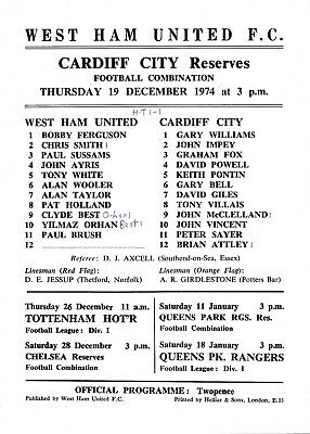 West Ham Reserves v Cardiff City (Combination) 1974/5