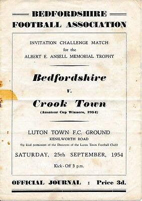 LUTON TOWN Bedfordshire v Crook Town (Friendly) 1954