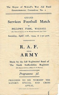 WALSALL RAF v The Army (Friendly @ Fellows Park) 1944