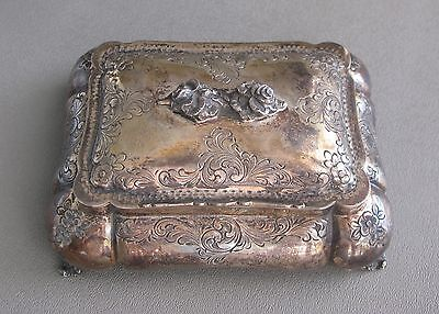 Lovely 800 Silver Covered Jewelry or Trinket Box with Cherubs Angels;E378