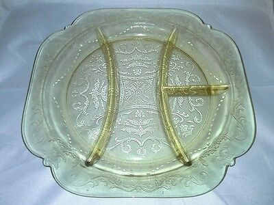 Federal Amber Madrid 4 Section Relish Plate Depression Glass Vintage 1932 to 39