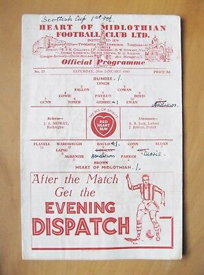 HEARTS v DUNDEE Scottish Cup 1949/1950 *Good Condition Football Programme*