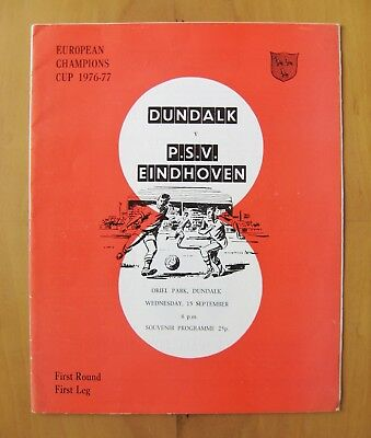 DUNDALK v PSV EINDHOVEN European Cup 1976/1977 Exc Condition Football Programme