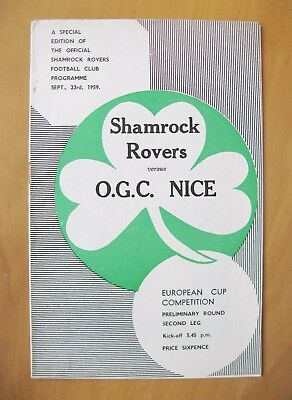 SHAMROCK ROVERS v NICE European Cup 1959/1960 *Exc Condition Football Programme*