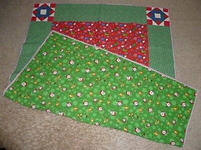"HANDMADE SNOOPY CHRISTMAS BLANKET COMFORTER QUILT NAP PLAY MAT RUG 64""x 48"""