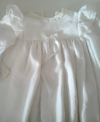 White Harringtons Traditional long sleeve Christening Dress with lace trim  80s