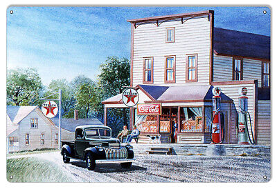 Texaco Oil Gas Station Reproduction Sign By Jack Schmitt 12x18