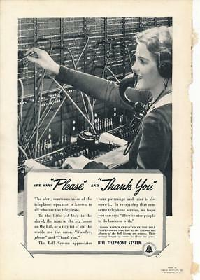 Vintage Magazine Ad - 1938 - AT&T / Bell System - Switchboard Operator