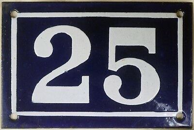 Old blue French house number 25 door gate plate plaque enamel steel sign c1950