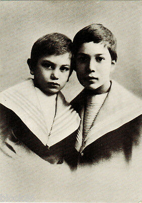 1990 Russian postcard with 1898 photo of B.Pasternak and brother, verse on back