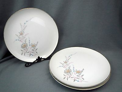 4 Wentworth China SUMMER SONG 2403 Dinner Plates Gold Trim