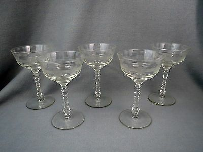 5 Libbey Rock Sharpe CUT BAND & FLOWER Floral TALL SHERBETS Stem # 3005 Etched