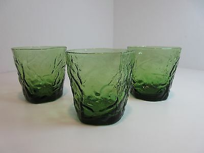 "3 Vintage Seneca Driftwood 3 3/4"" GREEN DOUBLE OLD FASHIONED GLASSES 14 oz"