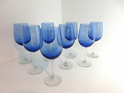"8 Libbey USA Made BLUE VINA 18 oz WINE GLASSES 9 1/4"" Oversize Clear Smooth Stem"