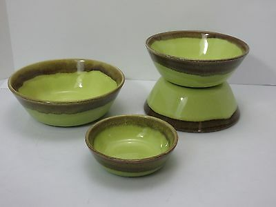 4 Bauer CALIFORNIA POTTERY Mission Moderne CHARTREUSE BROWN Cereal Berry BOWLS