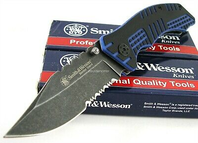 Smith & Wesson Border Guard Clip Point Blackwash Black Blue G10 Knife SWBG9BLS