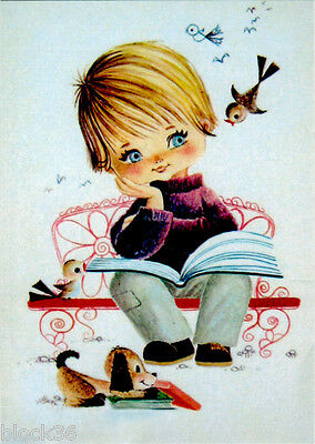 CHILD WITH BOOK BIRDS AND PUPPY NEARBY Modern Russian postcard