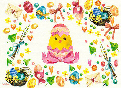 ORNAMENT WITH COLORED EGGS Modern Russian postcard suitable for EASTER