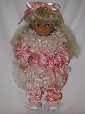 "Pretty 18"" Lissi Doll Dressed In Peach Satin Outfit"