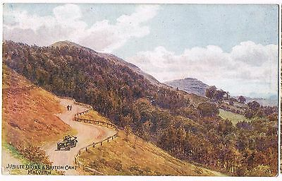 VINTAGE 1900s ART CARD: JUBILEE DRIVE & BRITISH CAMP MALVERN  + CAR: A R QUINTON