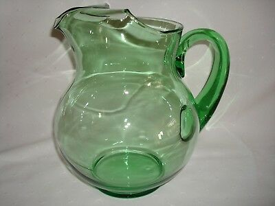 Vintage Large Green Glass Ball Pitcher With Ice Lip