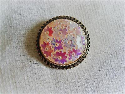 Vintage White With Iridescent Flowers Molded Glass Scarf Ring Clip